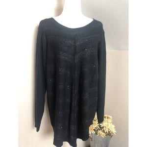 AGB Woman Black Metallic Long Sleeve Sweater